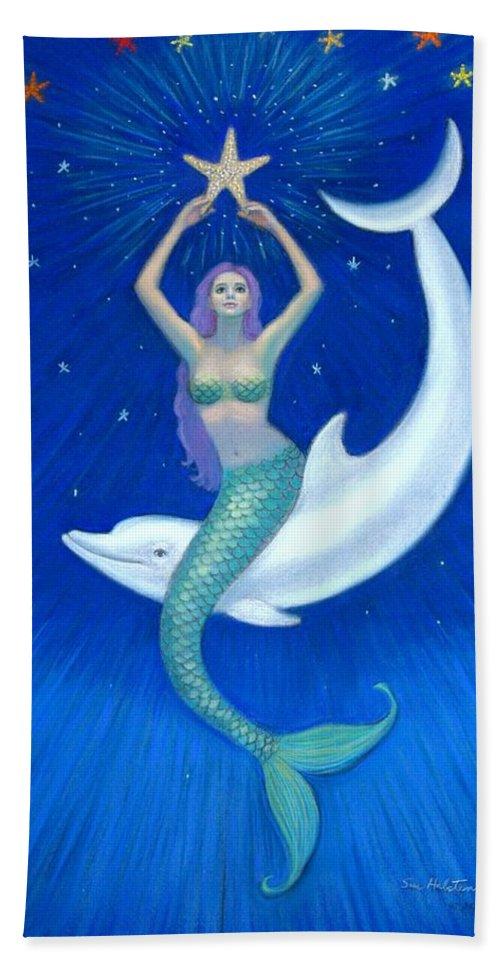 Mermaid Art Bath Sheet featuring the painting Mermaids- Dolphin Moon Mermaid by Sue Halstenberg