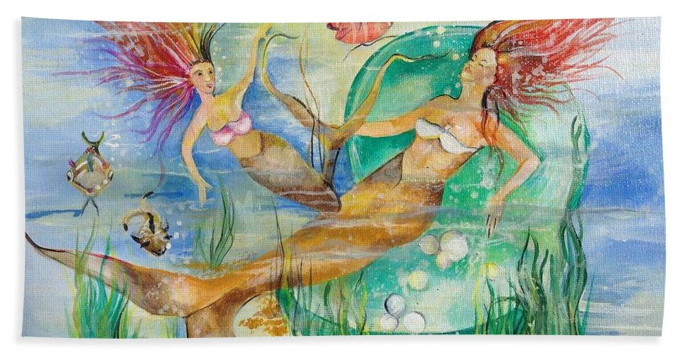 Fantasy Hand Towel featuring the painting Mermaids by Jacalyn Hassler Yurchuck