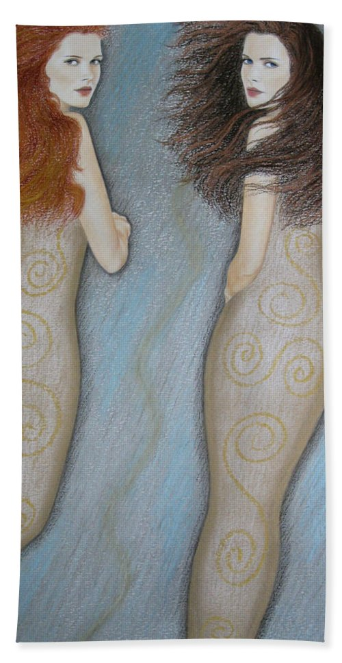 Mermaid Hand Towel featuring the painting Mermaids by Lynet McDonald