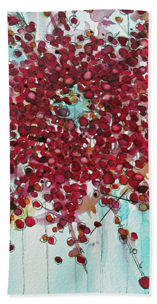 Winterberry Wreath Hand Towel featuring the painting Merry And Bright by Dawn Derman
