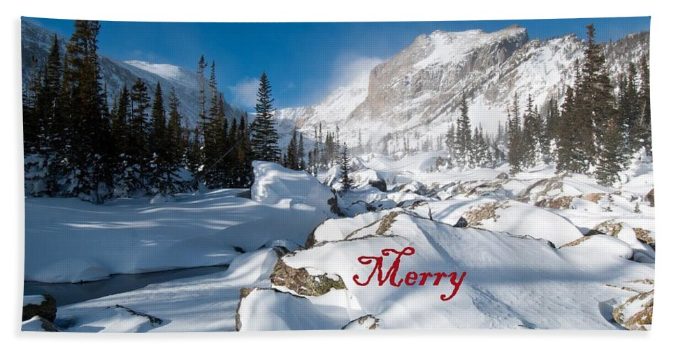 Happy Holidays Hand Towel featuring the photograph Merry Christmas Snowy Mountain Scene by Cascade Colors