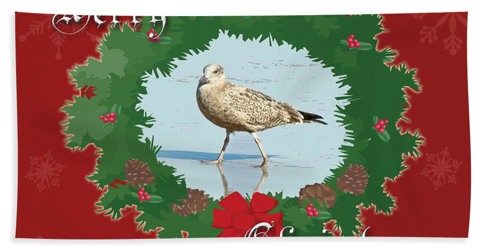 Christmas Bath Towel featuring the photograph Merry Christmas Greeting Card - Young Seagull by Mother Nature