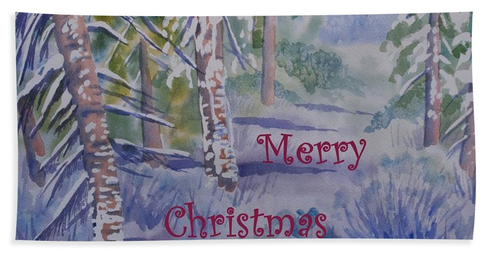 Merry Christmas Bath Sheet featuring the painting Merry Christmas - Snowy Winter Path by Cascade Colors