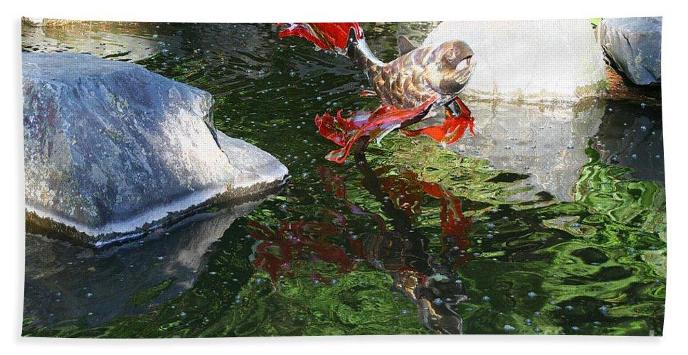 Koi Pond Bath Sheet featuring the photograph Merry Koi by Susan Herber