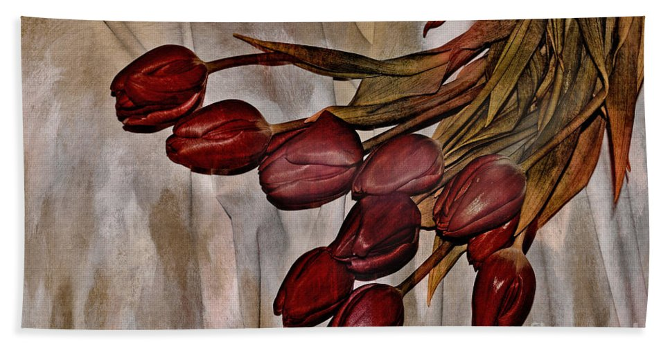 Tulips Bath Sheet featuring the mixed media Mes Tulipes by Aimelle