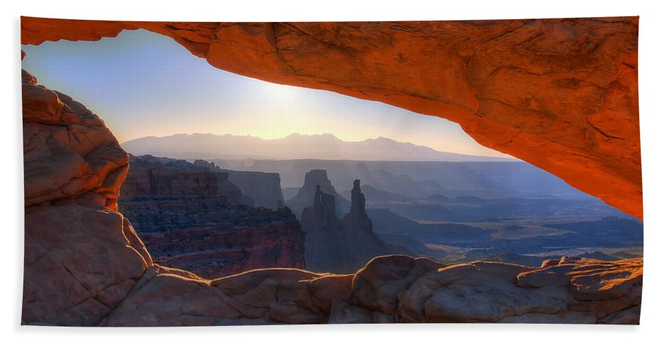 Mesa Arch Canyonlands National Park Hand Towel featuring the photograph Mesa Arch Canyonlands National Park by Ken Smith