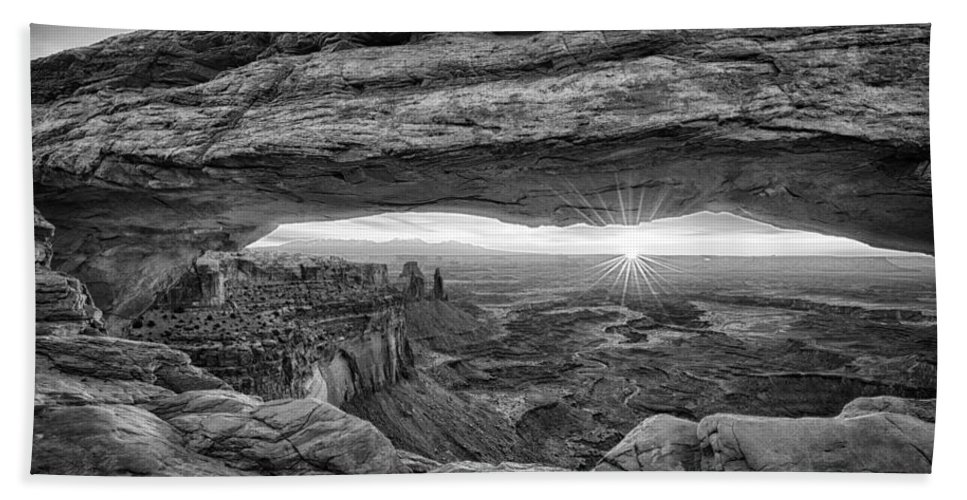Moab Hand Towel featuring the photograph Mesa Arch Sunrise by Stacy White