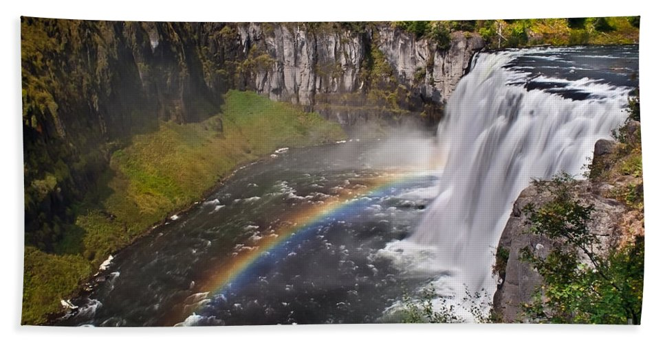 Waterfalls Hand Towel featuring the photograph Mesa Falls by Robert Bales