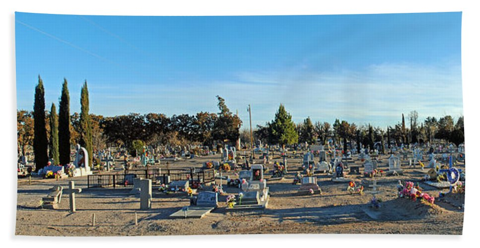 Mesilla New Mexico Bath Sheet featuring the photograph Mesilla Nm Cemetery 3  by Jeff Brunton