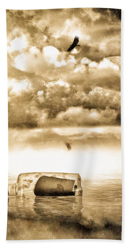 Seascape Hand Towel featuring the photograph Message In A Bottle by Bob Orsillo