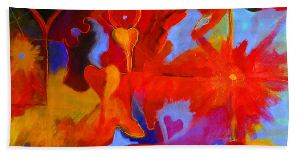 Abstract Hand Towel featuring the painting Message Of Love by Alison Caltrider