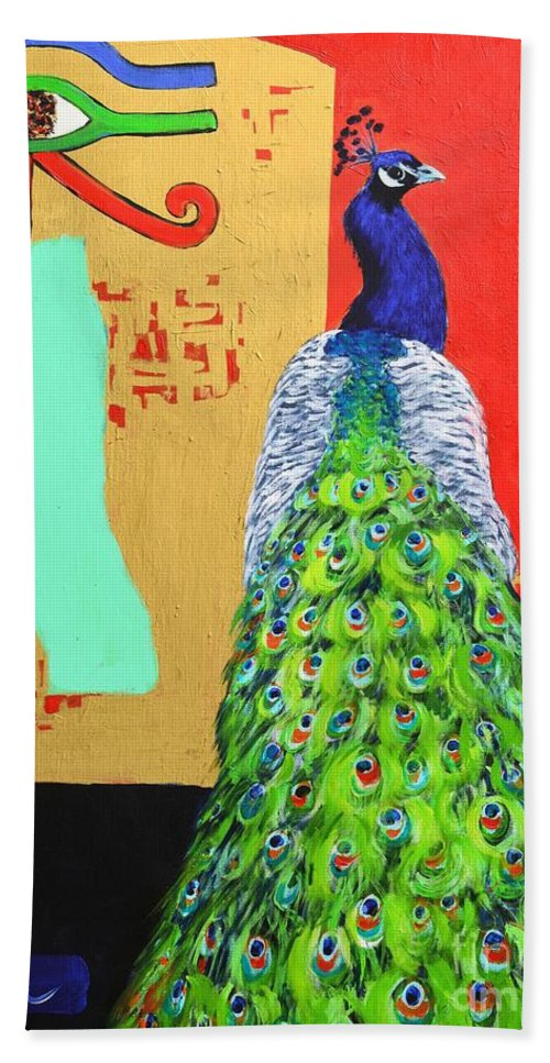 Peacock Hand Towel featuring the painting Messages by Ana Maria Edulescu