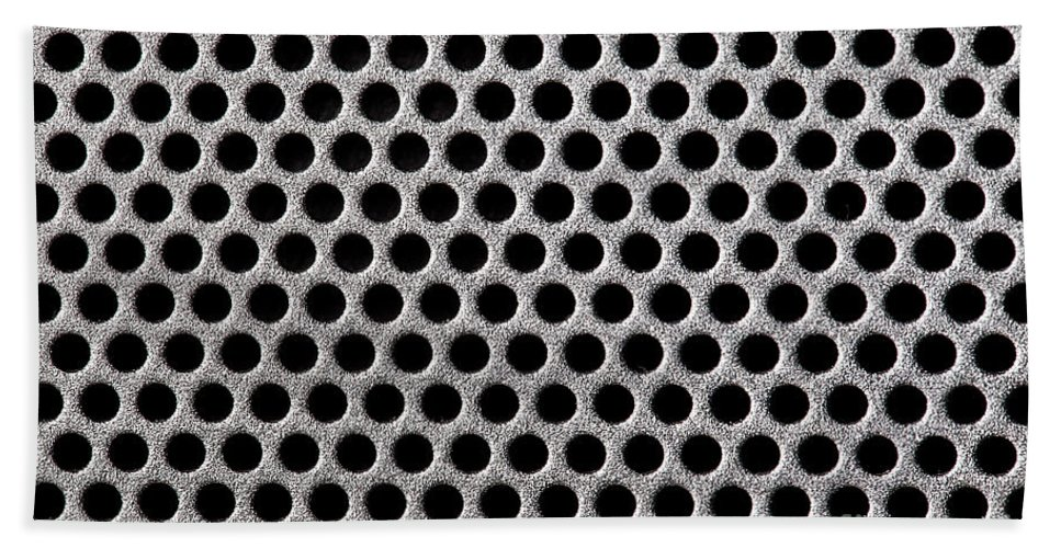 Abstract Bath Sheet featuring the photograph Metal Grill Dot Pattern by Simon Bratt Photography LRPS