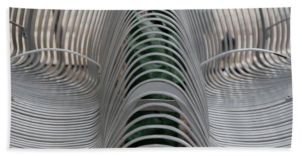 Abstract Hand Towel featuring the photograph Metal Strips by Rob Hans
