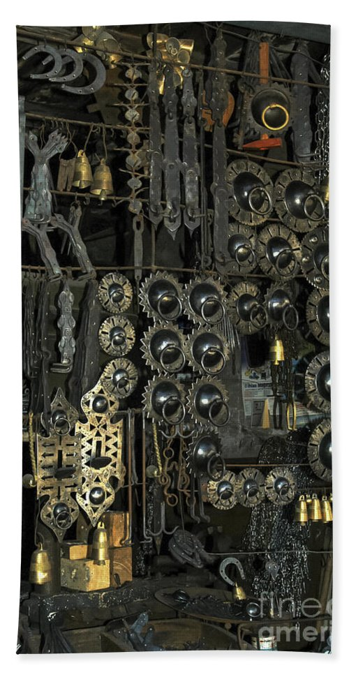 Door Knocker Knockers Horse Shoe Shoes Metal Work Shop Shops Store Stores Safranbolu Turkey Odds And Ends City Cities Cityscape Cityscapes Hand Towel featuring the photograph Metal Work by Bob Phillips