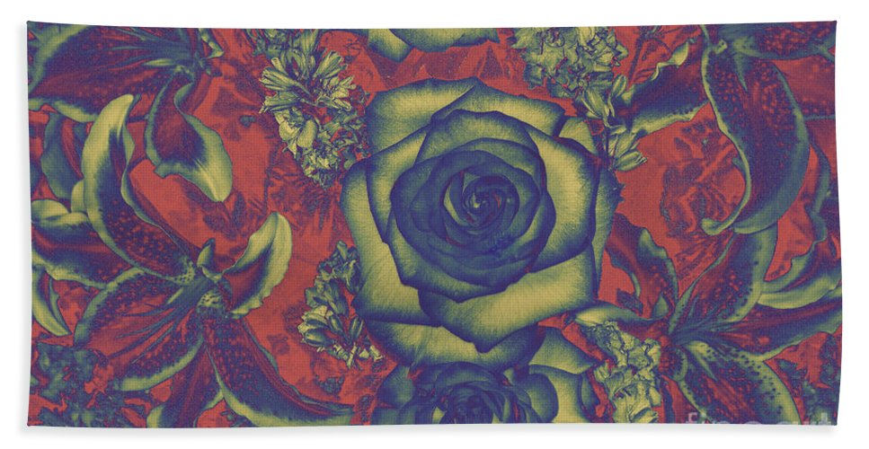 Abstract Landscape Photograph Of Roses And Other Flowers Bath Towel featuring the photograph Metalic Rose by Mae Wertz