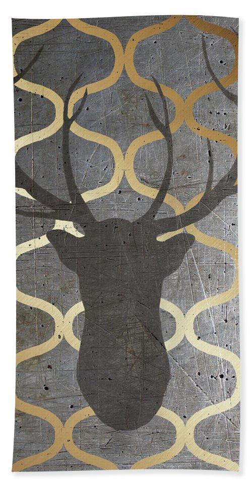 Metallic Hand Towel featuring the digital art Metallic Deer Nature by Andi Metz