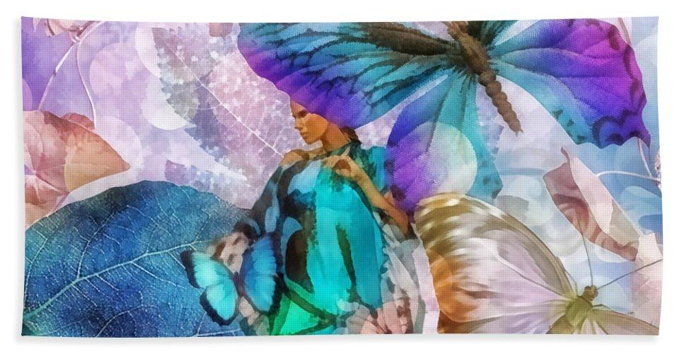 Metamorphosis Bath Towel featuring the painting Metamorphosis by Mo T