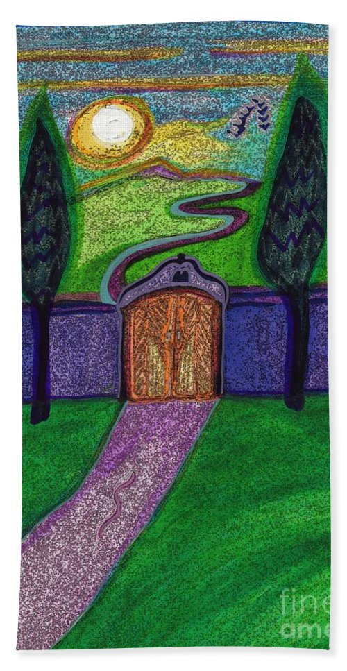 First Star Art Hand Towel featuring the drawing Metaphor Door By Jrr by First Star Art