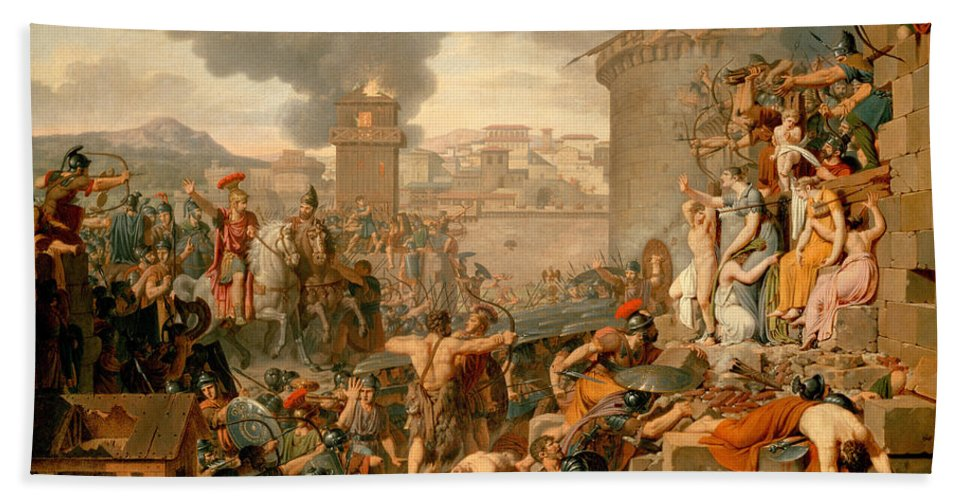 Armand-charles Caraffe Hand Towel featuring the painting Metellus Raising The Siege by Armand-Charles Caraffe