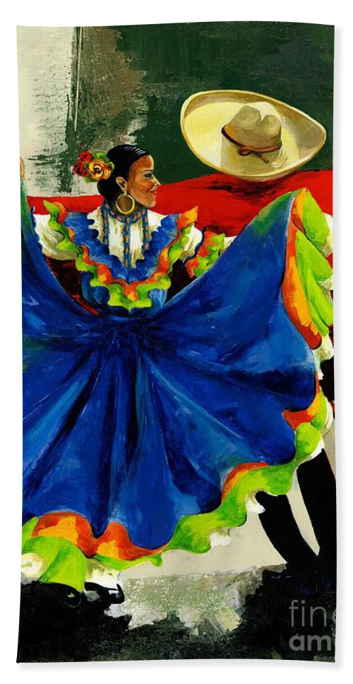 Canvas Prints Bath Towel featuring the painting Mexican Dancers by Elisabeta Hermann