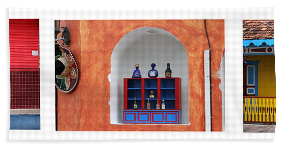 Triptych Hand Towel featuring the photograph Mexican Facades by Thomas Marchessault