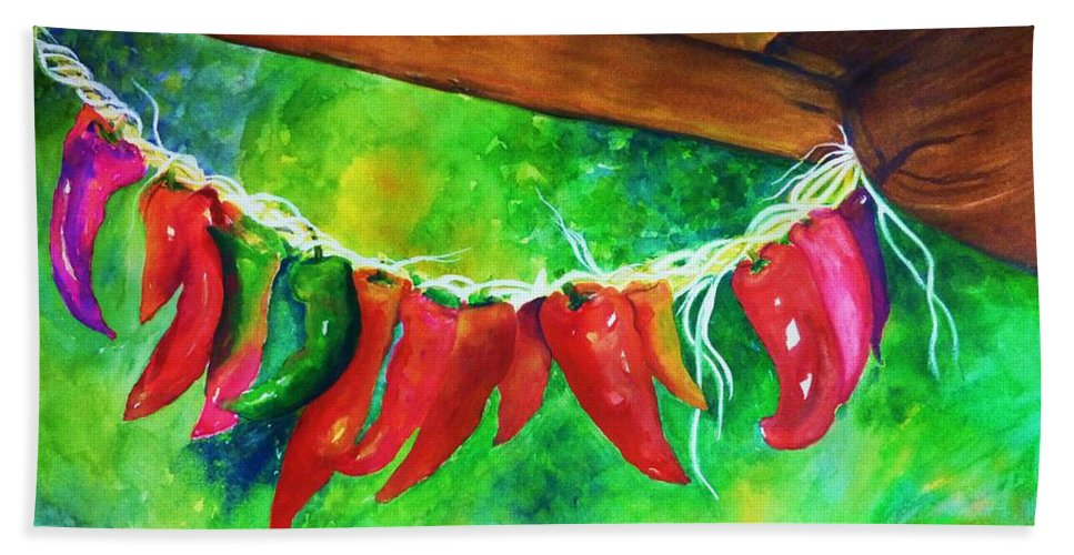 Hot Peppers Bath Sheet featuring the painting Hot Stuff by Jane Ricker