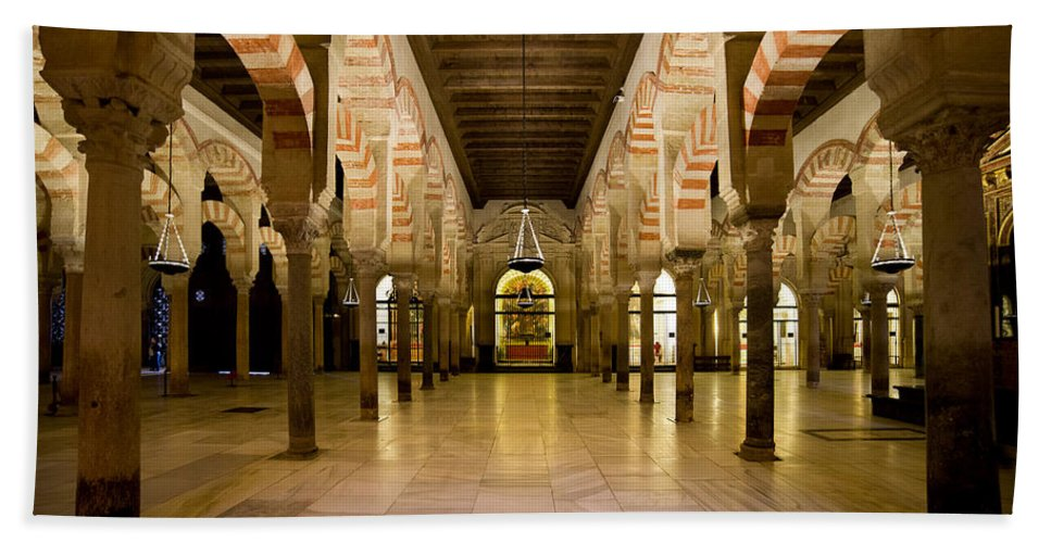 Cordoba Bath Sheet featuring the photograph Mezquita Interior In Cordoba by Artur Bogacki