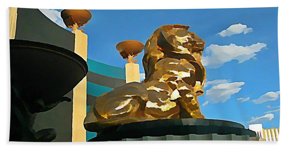 Mgm Lion In Las Vegas Hand Towel featuring the photograph Mgm Lion In Las Vegas by John Malone