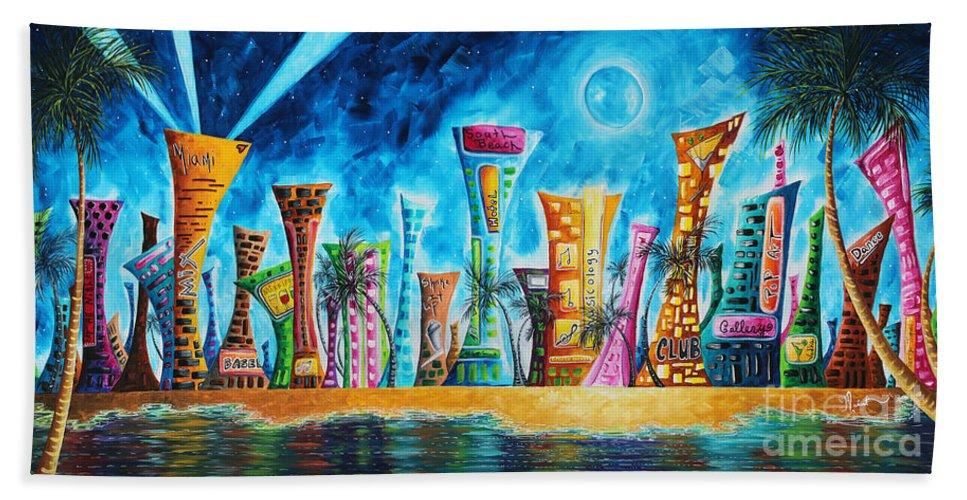 Miami City South Beach Original Painting Tropical Cityscape Art - Painting miami