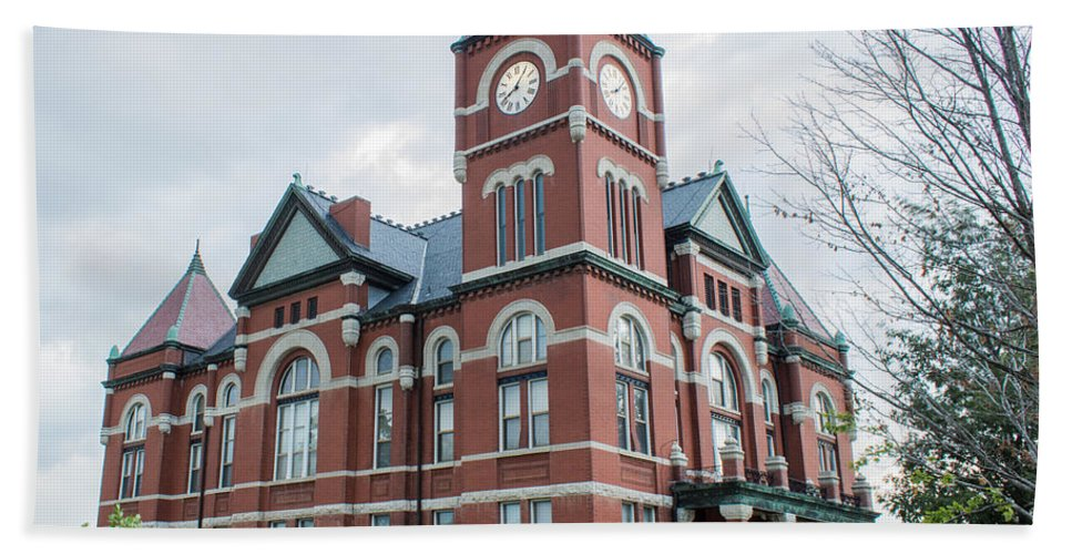 Court Hand Towel featuring the photograph Miami County Courthouse 3 by Ken Kobe