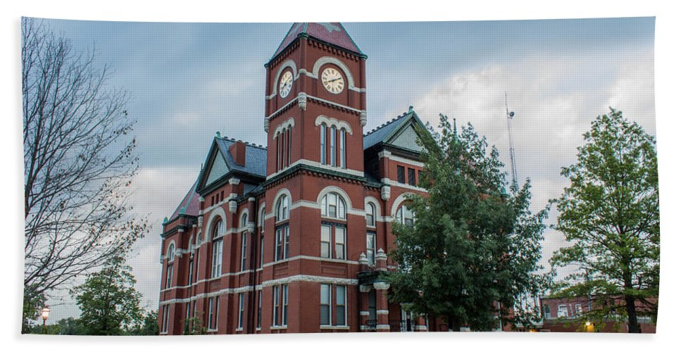 Court Hand Towel featuring the photograph Miami County Courthouse 4 by Ken Kobe