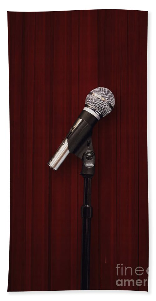 Microphone Hand Towel featuring the photograph Mic by Margie Hurwich