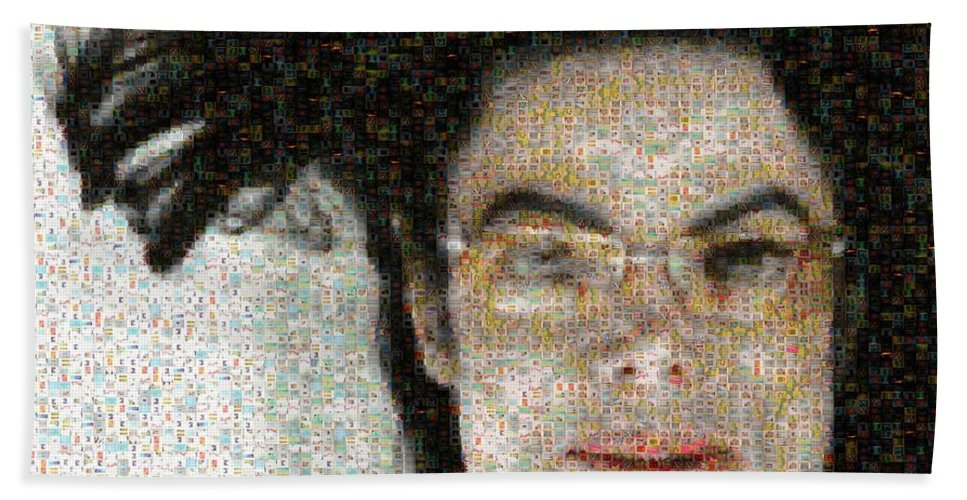 Michale Bath Sheet featuring the digital art Michael Jackson - Fly Away Hair Mosaic by Paulette B Wright