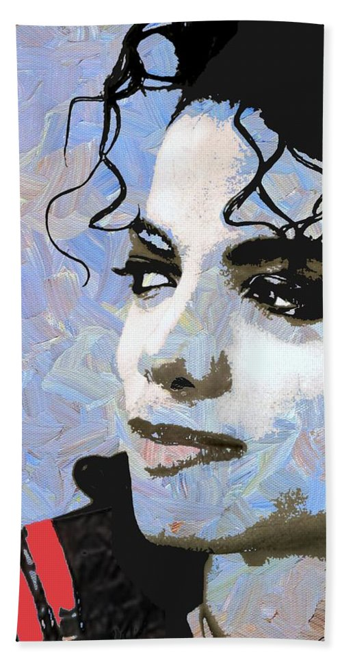 Michael Jackson Bath Towel featuring the digital art Michael Jackson Blue And White by Linda Mears