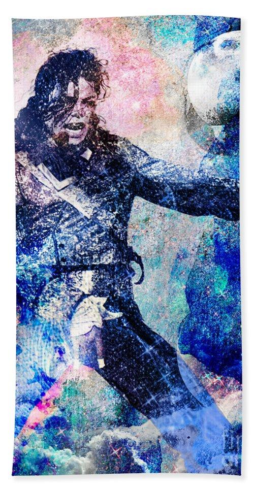 Rock Bath Towel featuring the painting Michael Jackson Original Painting by Ryan Rock Artist