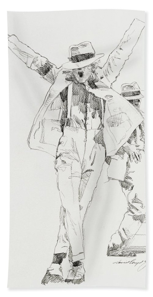 Michael Jackson Bath Towel featuring the drawing Michael Smooth Criminal by David Lloyd Glover