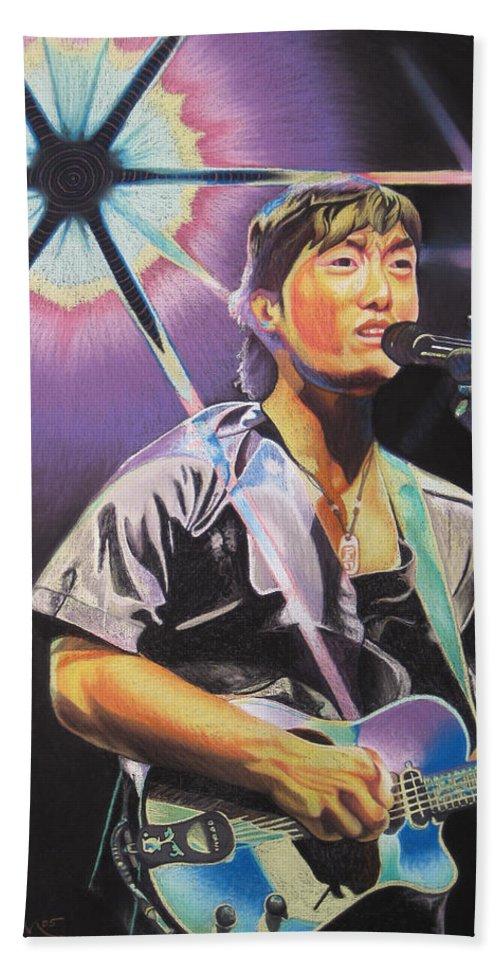 Michael Kang Bath Sheet featuring the drawing Micheal Kang by Joshua Morton