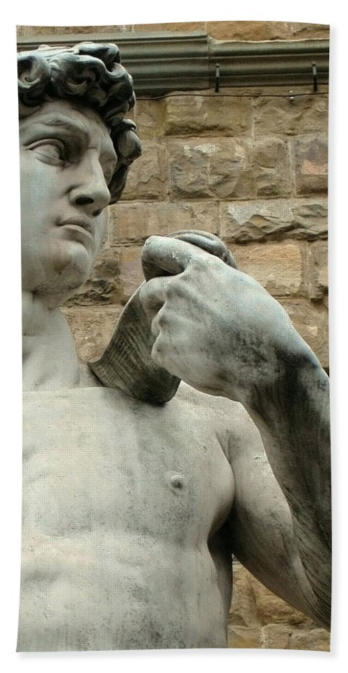 Michelangelos David Hand Towel featuring the photograph Michelangelo's David 1 by Ellen Henneke