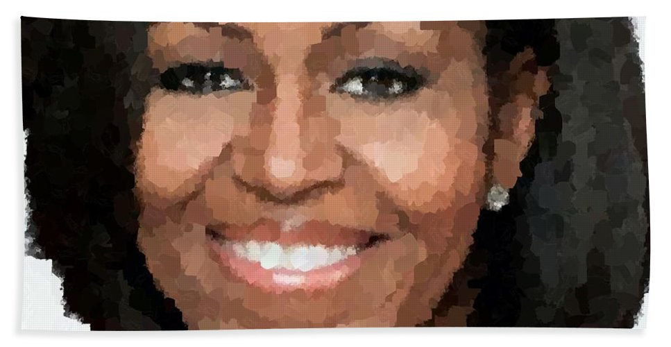 Michelle Hand Towel featuring the painting Michelle Obama by Samuel Majcen