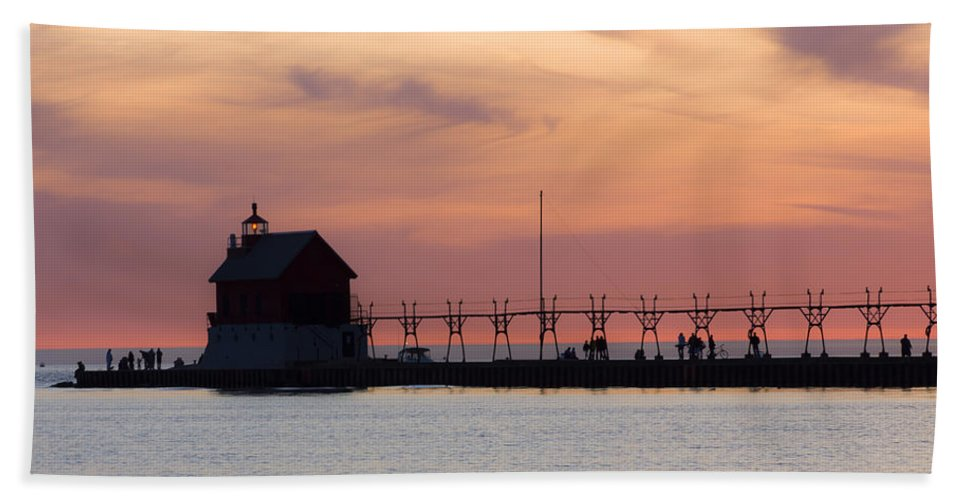 3scape Hand Towel featuring the photograph Michigan Sunset by Adam Romanowicz