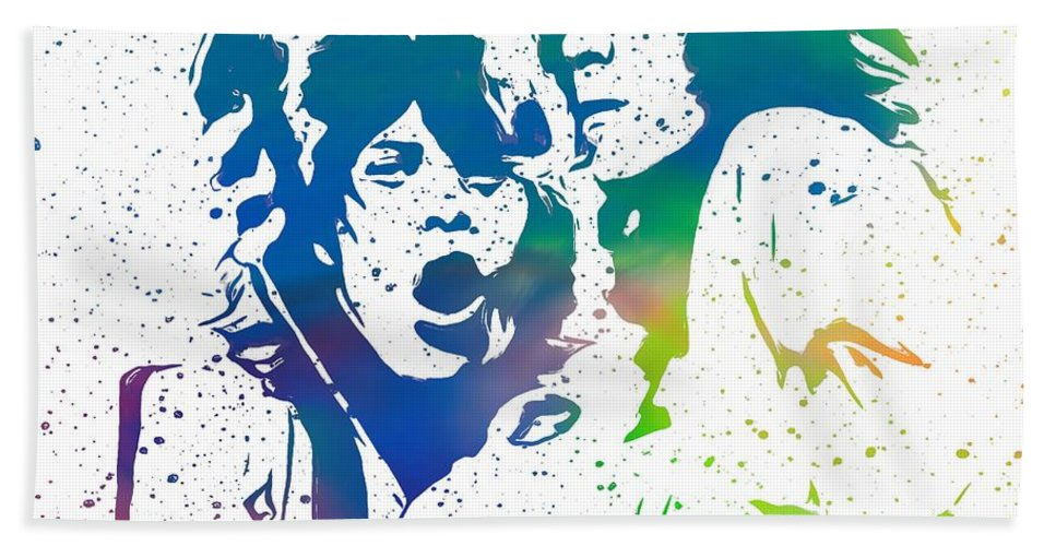 The Rolling Stones Mick And Keith Hand Towel featuring the digital art Mick Jagger And Keith Richards by Dan Sproul