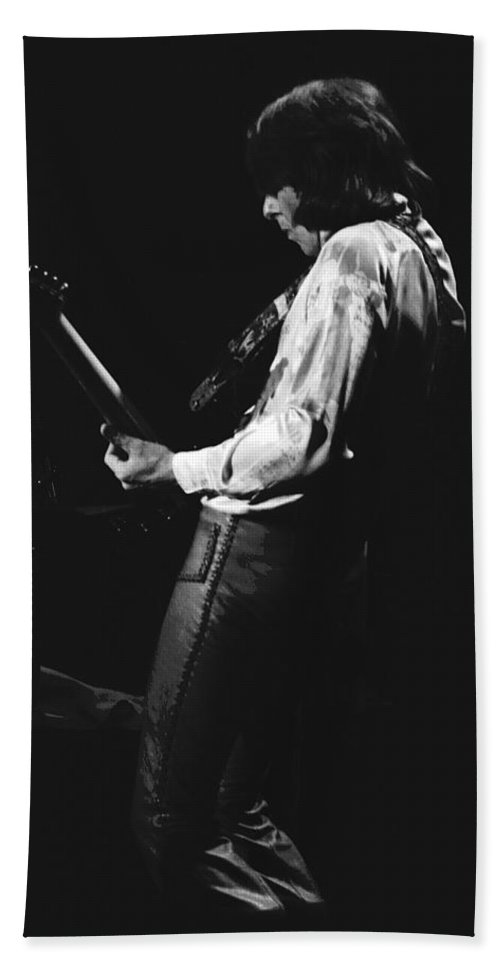 Mick Ralphs Bath Sheet featuring the photograph Mick On The Guitar 1977 by Ben Upham