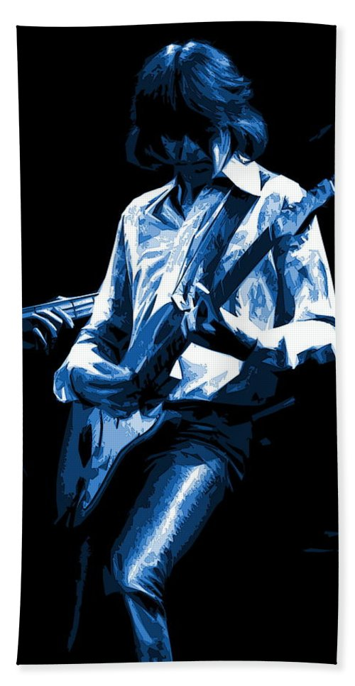 Mick Ralphs Bath Sheet featuring the photograph Mick Plays The Blues In Spokane 1977 by Ben Upham