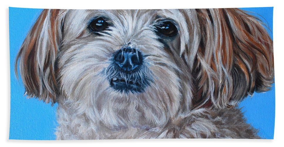 Maltese X Shihtzu Painting Bath Sheet featuring the painting Micky by Deborah Cullen