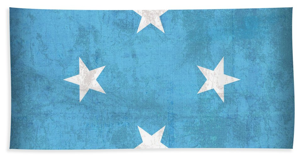 Micronesia Hand Towel featuring the mixed media Micronesia Flag Vintage Distressed Finish by Design Turnpike