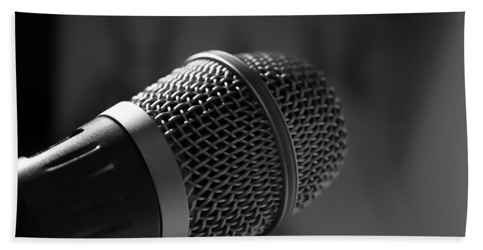 Symbol Bath Sheet featuring the photograph Microphone by FL collection