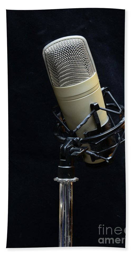 Paul Ward Bath Sheet featuring the photograph Microphone On Black by Paul Ward