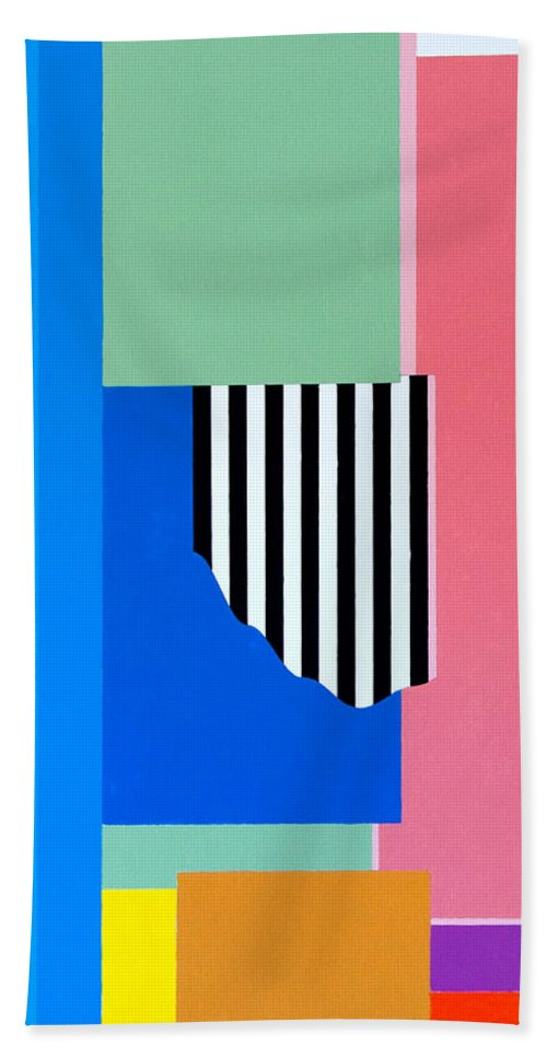 Geometric Hand Towel featuring the painting Mid Century Compromise by Thomas Gronowski
