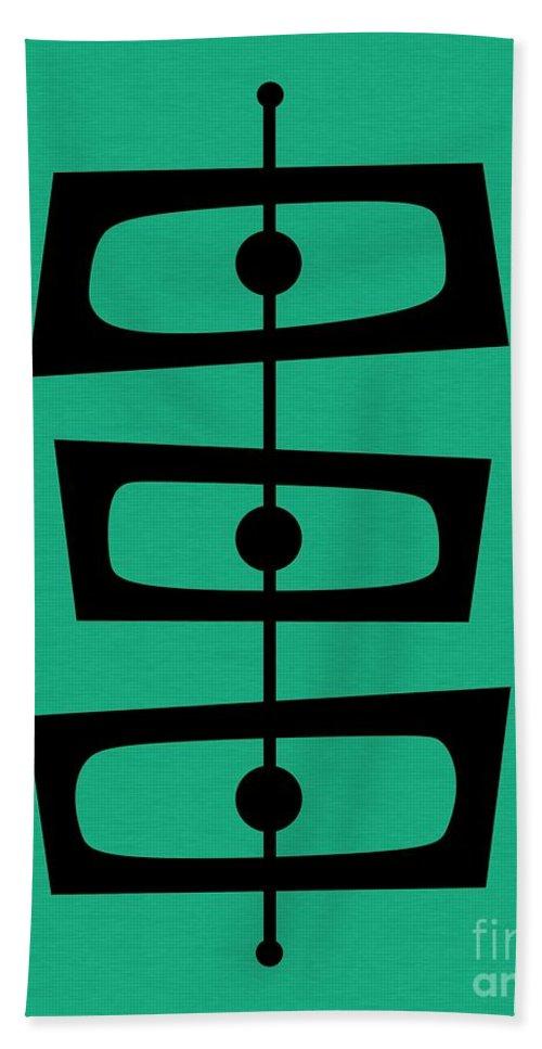 Aqua Hand Towel featuring the digital art Mid Century Shapes On Aqua by Donna Mibus